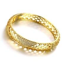 Stylish Gold Filled Zircon Hollow Out Women's Rhombus Geometric Bracelet Bangle Openable stylish rhinestone hollow out elastic bracelet for women