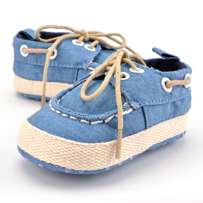 Toddler Boys Girls First Walkers Soft Sole Crib Canvas Shoes Lace-up Sneaker Baby Shoes  ...