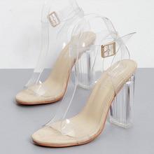 Summer Women Ankle Strap Sandals Transparent PU Buckle Strap  Square heel 11.5CM High Heels Sandals Women Shoes Sexy Pumps недорого