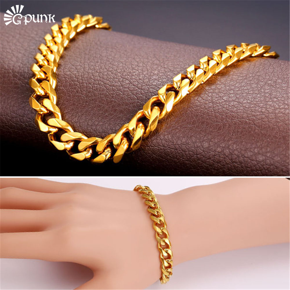 9mm Curb Cuban Link Chain Bracelet Men Heavy Metal Accessories Stainless Steel Gold Color Bracelets H2279 In From