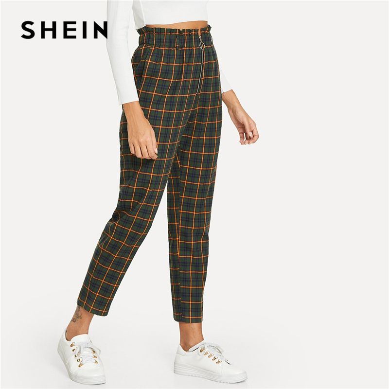 SHEIN Grün Büro Dame Elegante Ausgesetzt Zip Fly Plaid Peg Mid Taille Karotte Minimalistischen Hosen 2018 Herbst Casual Frauen Hosen