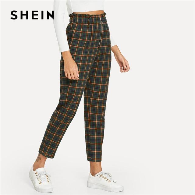 29d00d48f3 SHEIN Green Office Lady Elegant Exposed Zip Fly Plaid Peg Mid Waist Carrot  Minimalist Pants 2018