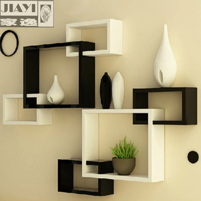 Yi Minimalist Modern Home Wall Shelving Racks Triples Creative Living Room Decoration Backdrop Separator