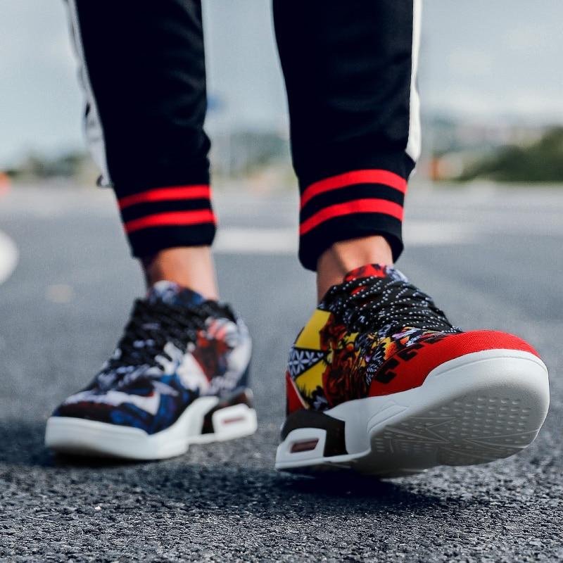 Da Selvagens Das Coreana Altos blue Red Tendência Red Graffiti Calçados Outono Homens Blue Sapatilhas Dos Versão black De Esportivos Sapatos Black qzvw6v