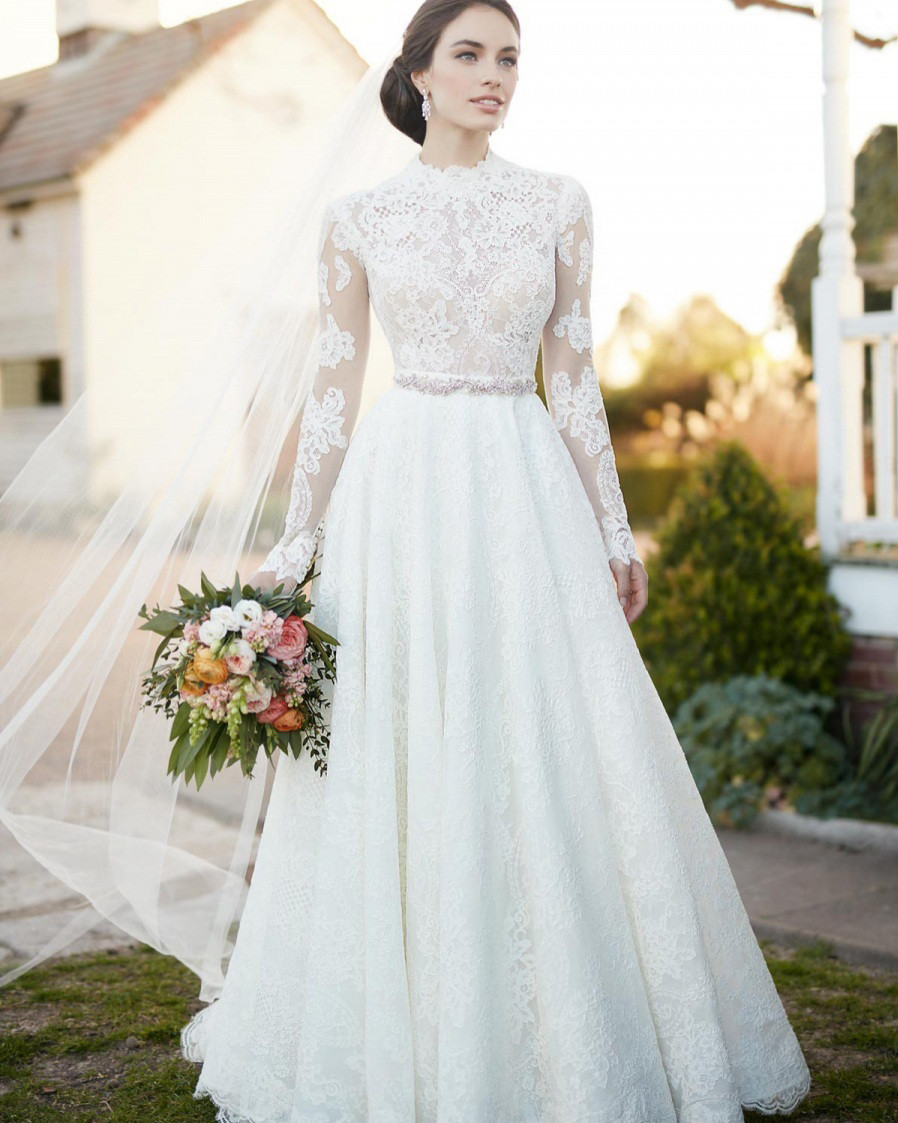 Elegant lace a line wedding dresses high neck long sleeve for Elegant long sleeve wedding dresses