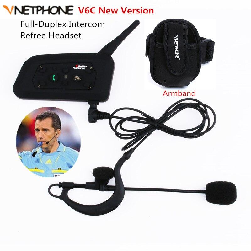 V6C 1200M Intercom Full Duplex Two-way Football Referee Coach Judger Arbitration Earhook Earphone