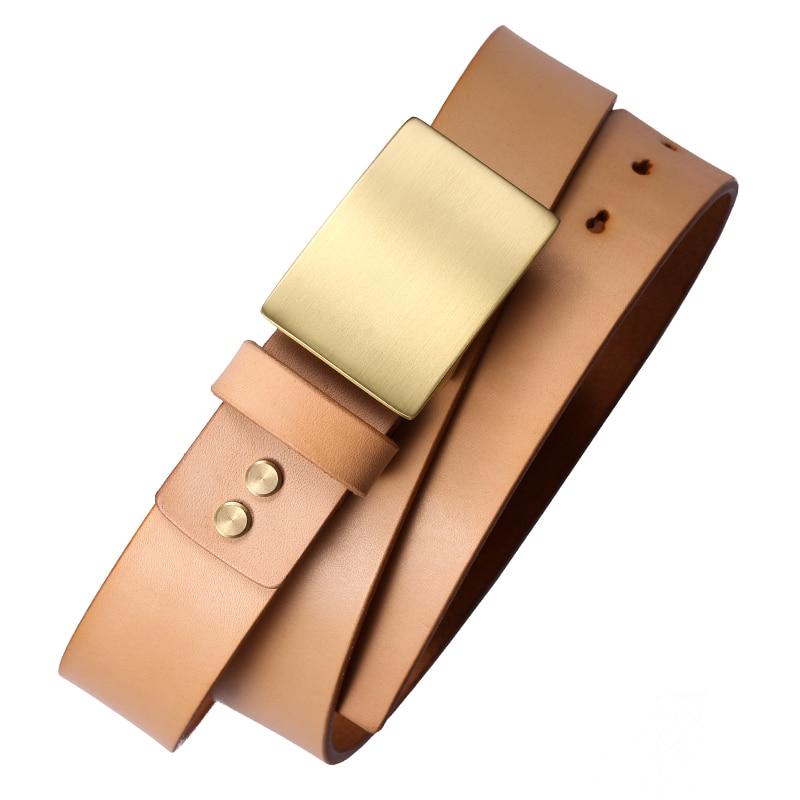298 véritable cuir de vachette en laiton boucle en métal ceinture durable