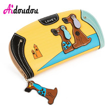 Фотография Fashion Cute Long Wallet Women PU Leather Cartoon Dog Wallets Lady Clutch 6 Colors Puppy Zipper Card Holder Female Change Purses
