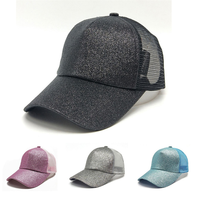 e0892b3e Women Outdoor Casual Open Horsetail Glitter Sequins Fluorescent Mesh Cap  Baseball Hat