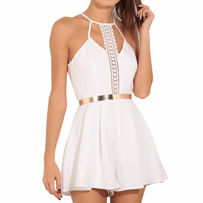 Fashion Women Beach Rompers Summer Sleeveless Vest Shirts Jumpsuits White Ladies Casual A-line Camisole Jumpsuit Party #YL ...