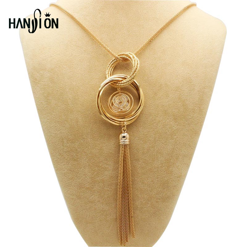 Fashion Gold Silver Plated Double Circles Long Necklaces & P
