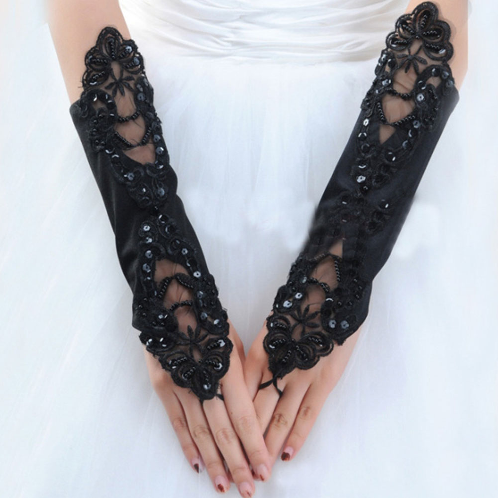 1Pair Lace Embroidered Long Gloves Women Fingerless Black Beading Gloves Steampunk Style Retro Gothic Party Costumes