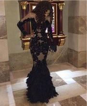 Distinctive Black Spitze Abendkleid Vestido De Festa Longo Langarm Meerjungfrau Abendkleid 2016 FM1015