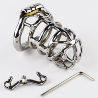 2017 NEW Male Chastity Device Penis Lock With Open Mouth arc shaped Cock Ring Spike Ring Stainless Steel Chastity Belt