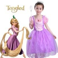 Rapunzel Short Sleeve Party Princess Elsa Girls Dress Fairy Tale Dress Bow Chlid Kids Halloween Costumes