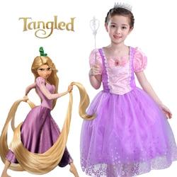 Rapunzel Short Sleeve Party Princess Elsa Girls Dress Fairy Tale Dress Bow Chlid Kids Halloween Costumes Girls Party Dress