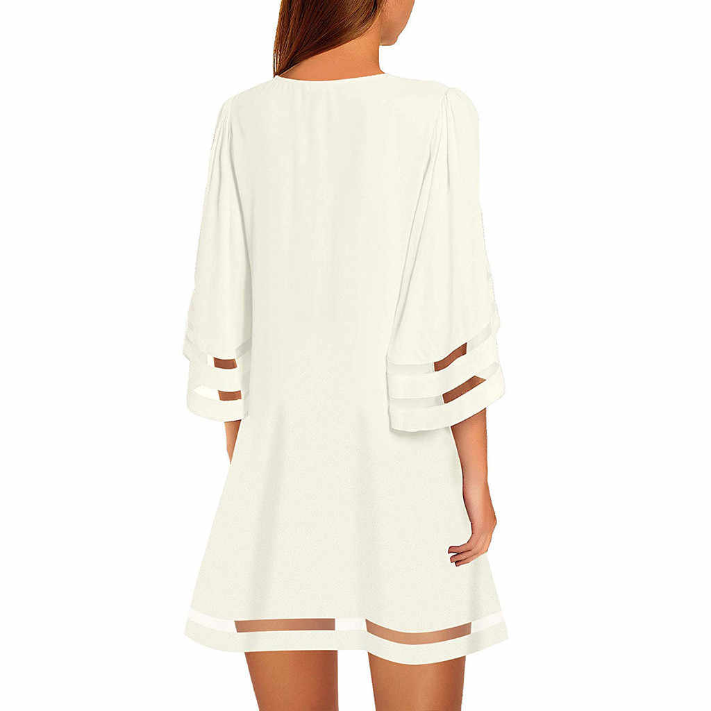 Chemisier à panneau en maille à col en V pour femmes trois quarts manches cloche haut ample blanc noir rouge Mini Robe d'été