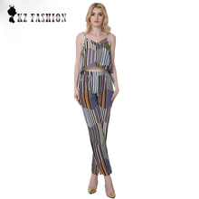 2017 Women Fashion Style Show Thin Camis V-Neck Collar Striped Printing ClothSuits size S-2XL S718393Y