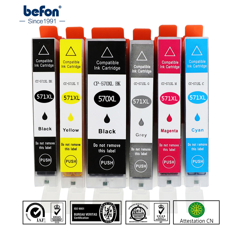 befon Cartridges X6 Replacement for Canon PGI-570 CLI-571 PGI570 CLI571 PGI 570 CLI 571 XL Ink Cartridge For MG7750 7751 6850befon Cartridges X6 Replacement for Canon PGI-570 CLI-571 PGI570 CLI571 PGI 570 CLI 571 XL Ink Cartridge For MG7750 7751 6850