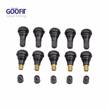 GOOFIT 10-pack Snap-In Short Black Rubber Valve Stem for Tubeless Rim Holes on Standard Vehicle Tires Group-128