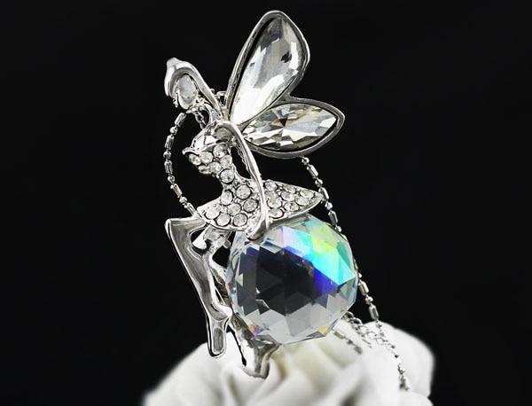 Bola de cristal austriaco Ángel ala de hadas Colgante sudor Cadena Collar joyería de moda partido de calidad envío libre de la gota muchacha de la oficina