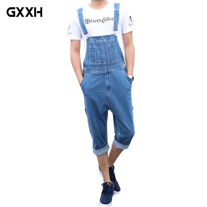Mens Summer Stretch Slim Denim Bib Trousers Cropped Trousers Casual Overalls Mens Bib Jeans Womens Sling Bodysuit Size 28-46