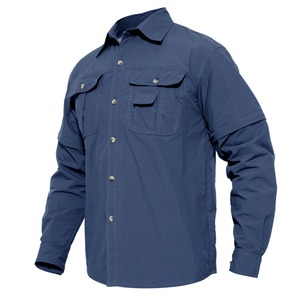 Image 3 - MAGCOMSEN Summer Mens Shirts Quick Dry Sleeve Detachable Shirts Military Army Tactical Shirts Breathable Cargo Work Hiking Tops