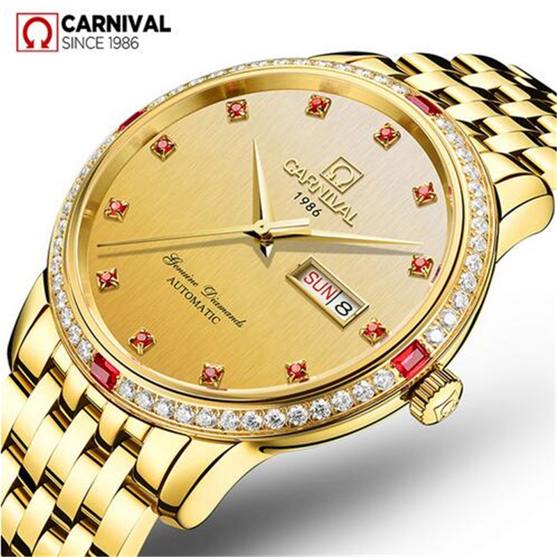 Men Red Diamond Carnival Automatic Mechanical Watch Mens Luminous Clock Male Stainless Steel Gold Wristwatches Relogio Masculino tevise men watch black stainless steel automatic mechanical men s watch luminous waterproof watch rotate dial mens wristwatches
