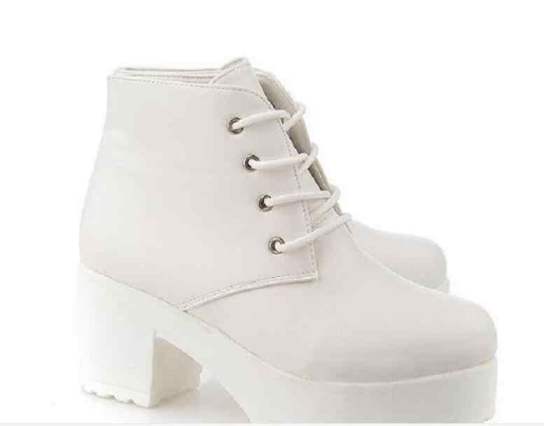 Nouveau haute qualité pu cuir bottes femmes à lacets automne hiver bottines pour femmes plate-forme talons hauts bottes femmes talons hauts