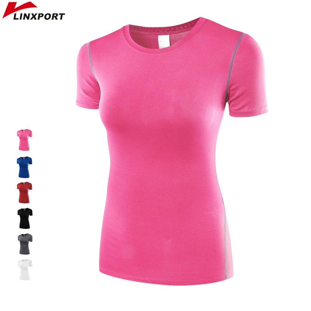 <+>  Профессиональные футболки Женщины Фитнес Бег Спорт с короткими рукавами Быстросохнущие Тройки Бег Уп ★