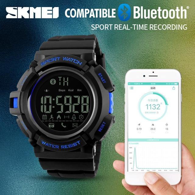 SKMEI Men Automatic Pedometer Watch Fashion Bluetooth Datejust Army Military Wristwatch Top Luxury Mens Famous Waterproof Clock