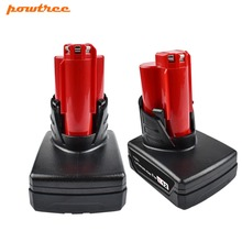 Powtree For Milwaukee 2PCS 12V 4000mAh M12 Red Power Tool Li-ion Battery Replacement C12 B, C12 BX 48-11-2401 48-11-2402 C12 D