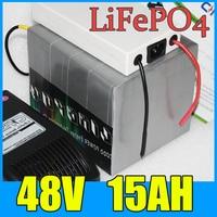 48 فولت بطارية 15ah lifepo4 ، 800 واط + شاحن بطارية الليثيوم دراجة كهربائية سكوتر + bms ، شحن مجاني
