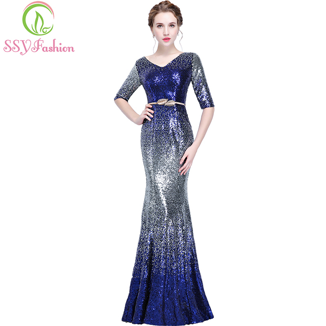 SSYFashion New Mermaid Evening Dress The Banquet Luruxy Half Sleeve Sexy  Gradient Color Sequined Fishtail Long Party Formal Gown 88db5fe4caec