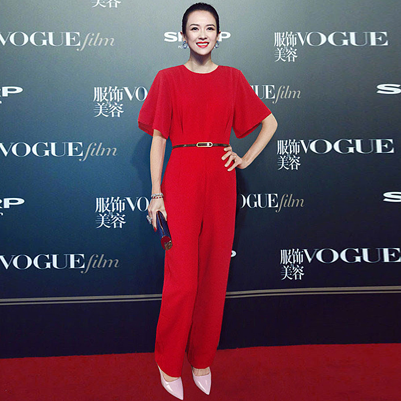 Rompers High Quality 2018 Summer New Fashion Ladies Party Elegant Vintage Office Casual Fashion Red Trousers Jumpsuits