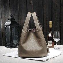 Luxo couro genuíno garantido bolsa feminina famosa marca senhora sacos de bloqueio bolsa feminina balde sacos de compras