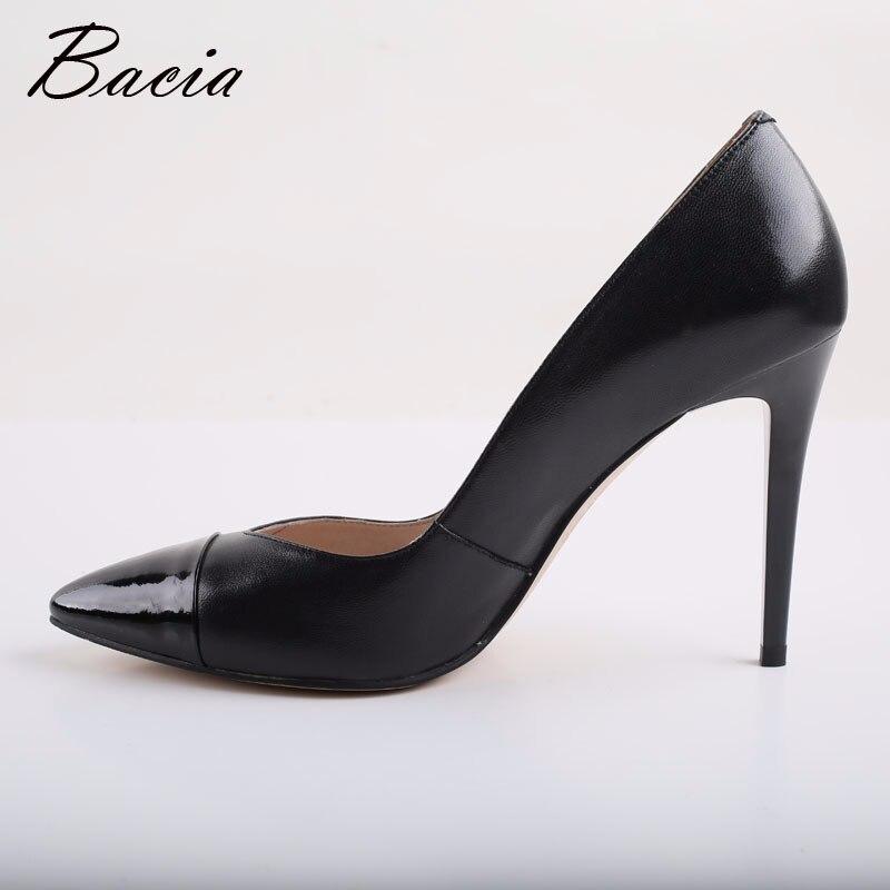 Hauts Bacia Tacon Pointu Talons Femmes Cuir Véritable Peau Dames Chaussure Bout Mouton 9 Noir Chaussures Mujer Pompes En De 5 Zapatos Soirée Cm 74Hrq7wx