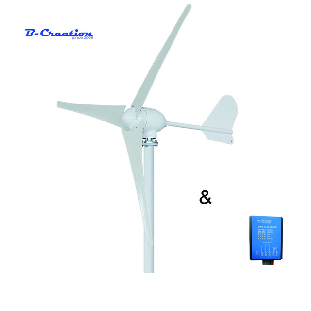 500W 12V/24V/48V 3/5 blades horizontal wind turbine generator home use + HOME USE waterproof wind charger controller free shipping 600w wind grid tie inverter with lcd data for 12v 24v ac wind turbine 90 260vac no need controller and battery