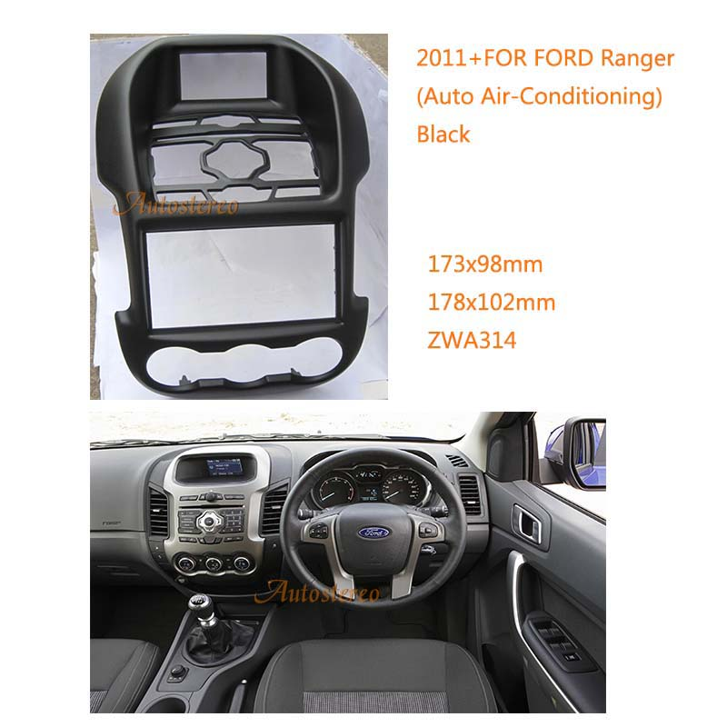 цена на Car Radio Fascia multimedia Frame Kit For Ford Ranger 2011+ With Auto Air-Conditioning Facia Panel Trim Dash CD