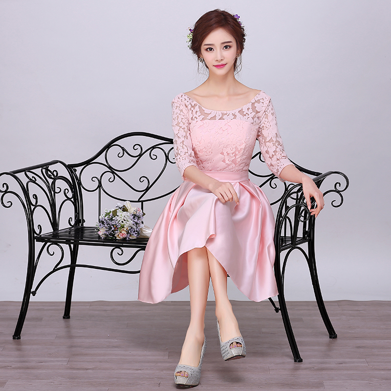 New Arrival Elegant Pink Satin Short Cocktail Dresses With Lace Sleeves Mother Of Bride Dresses Robe De Cocktail