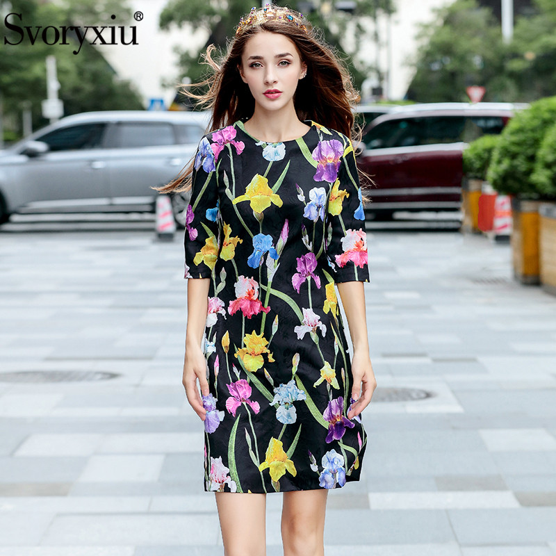 Svoryxiu High Quality Autumn Party Jacquard Dress Women s Elegant Half Sleeve Black Floral Print Runway
