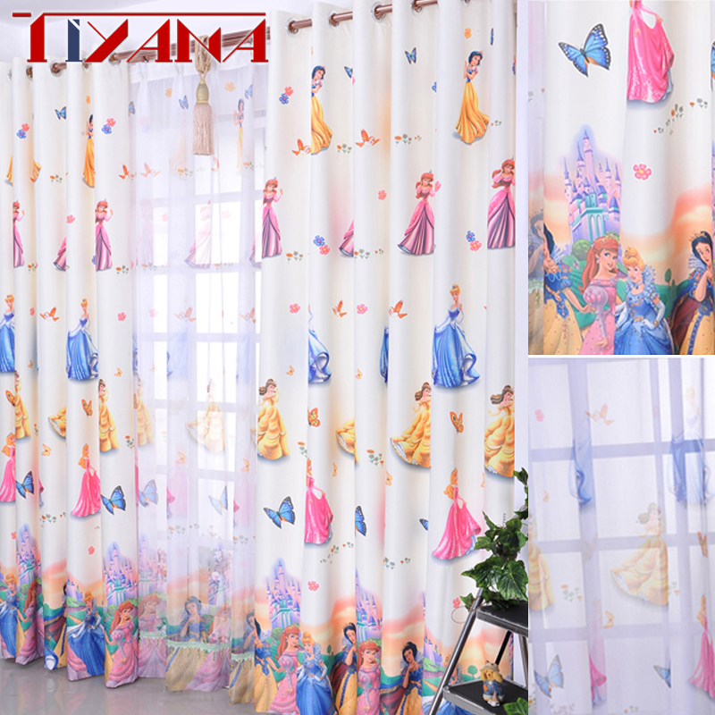 Cartoon Window Decoration For Kids Bedroom Cute Princess Blackout Finished Curtain Fabric Tulle For Baby Girls Room Wp139#3