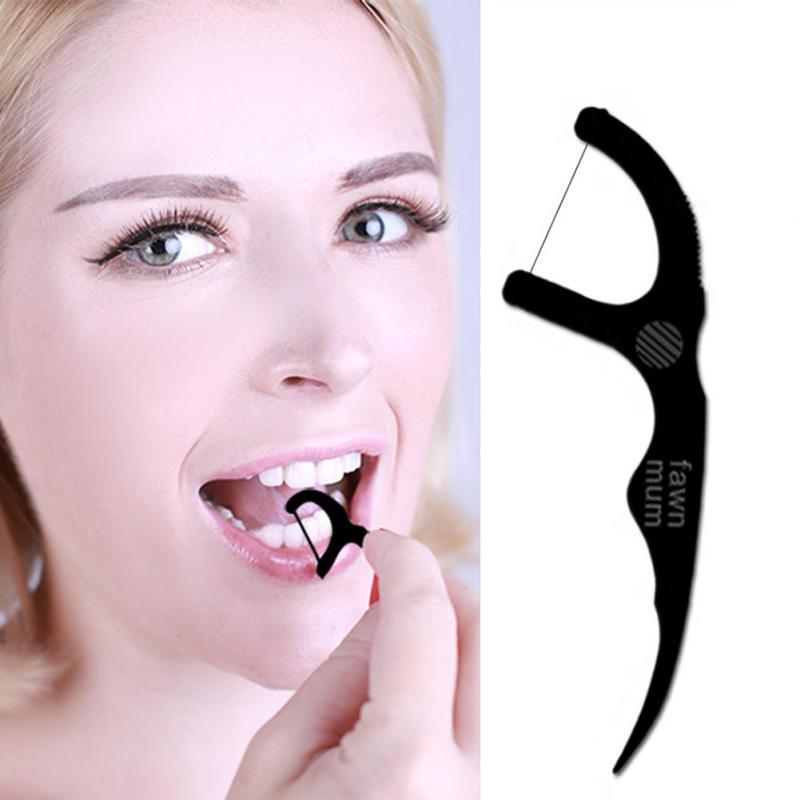 Hot Selling 50Pcs/set Practical Floss Pick Care Toothpick Teeth Floss Bamboo Charcoal Floss Pick