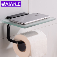 Toilet Paper Holder with Shelf Glass Aluminum Black Paper Towel Holders Wall Mounted Bathroom Tissue Roll Paper Holder Creative цена