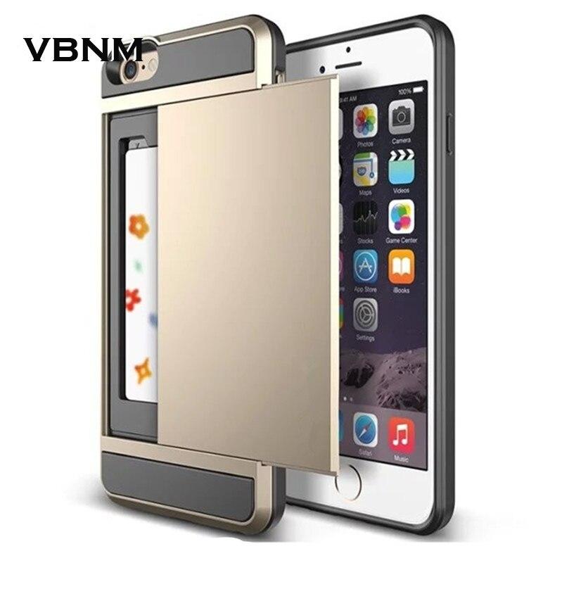<font><b>Slide</b></font> Spacious Credit Card Slot Wallet Layer Shock Dirt Proof Skin <font><b>Case</b></font> for iPhone 4 4s 5 5s 6 6s 7 plus Hard <font><b>Phone</b></font> Cover Armor