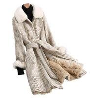 2018 г. модные зимние длинные шерстяные Для женщин куртка натуральный мех ягненка внутренний бак реального норки Куртка с воротником Верхняя