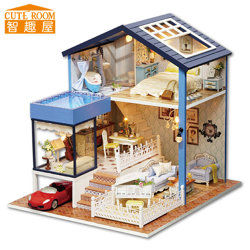 Assemble Diy Doll House Toy Wooden Miniatura Doll Houses Miniature Dollhouse Toys With Furniture