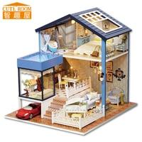 Promo Montar casa de muñecas DIY juguete de madera Miniatura casas de muñecas Miniatura casa de muñecas juguetes con muebles luces LED Regalo de Cumpleaños A061