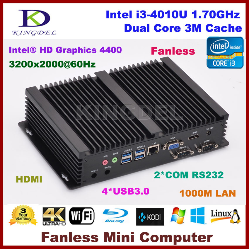 Micro PC Windows 10 / Linux Mini Industrial Computer <font><b>Intel</b></font> <font><b>Core</b></font> <font><b>i3</b></font> <font><b>4010u</b></font> Barebone HTPC HDMI HD 4k+VGA RS232 COM RJ45 LAN+WIFI image