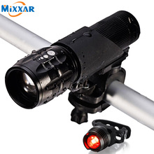 ZK20 Waterproof Flashlight LED Bike Head Light Set Front and Rear Lighting Fit All for Bicycle Safety Gift-Giving NO Battery
